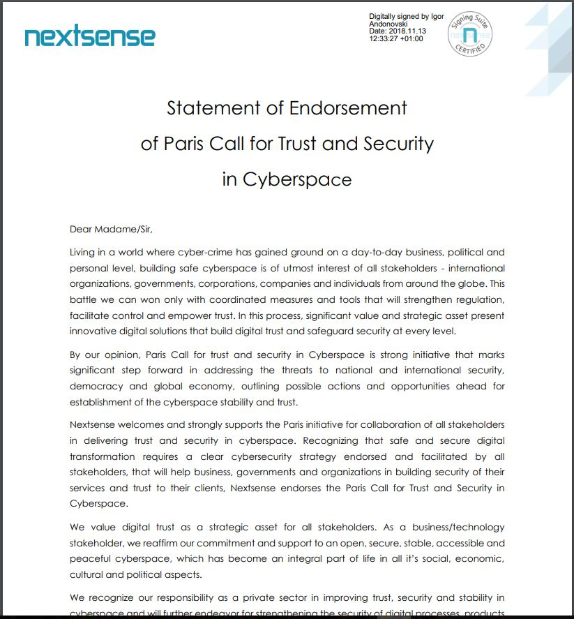 Nextsense Statement of Endorsement of Paris Call for Trust and Securityin Cyberspace